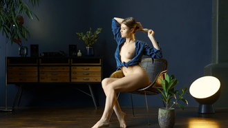 women, sitting, chair, blue shirt, plants, boobs, nipples, ass, closed eyes, hands in hair, belly