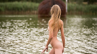 women, blonde, nude, boobs, ass, river, nipples, tan lines, women outdoors, long hair, water drops