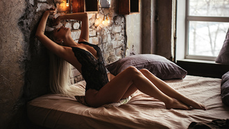 women, blonde, black lingerie, long hair, in bed, window, bedroom, pillow, closed eyes, armpits, cleavage, body lingerie, brunette, wall, sitting