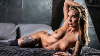 women, blonde, nude, tattoo, brunette, boobs, nipples, belly, ribs, in bed, pillow, nose ring, kneehighs, piercing nipples