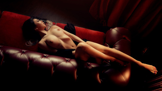 women, red couch, top view, belly, nude, boobs, nipples, closed eyes, sian