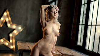 women, nude, blonde, tables, haved pubic hair, belly, boobs, nipples, armpits, window, looking away