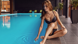 women, swimming pool, sitting, brunette, water, black bikini, water drops