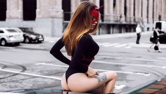 women, mask, ass, sitting, women outdoors, blonde, bodysuit, tattoo, leotard, street, car