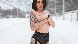 women, black panties, tattoo, snow, winter, garter belt, black nails, covering boobs, pierced navel, women outdoors