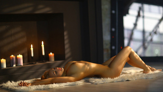 women, nude, boobs, nipples, closed eyes, armpits, on the floor, candles, lying on back