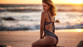 women, sunset, blonde, ass, sea, sand, swimwear, beach, kneeling, brunette, women outdoors