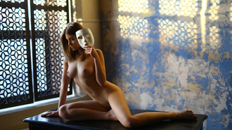women, nude, brunette, blonde, belly, boobs, nipples, mask, table, sitting, wall