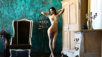 women, nude, tattoo, boobs, nipples, belly, shaved pubic hair, hands in hair
