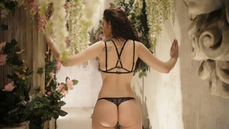 women, back, ass, flowers, tattoo, black lingerie, brunette