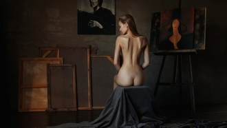 women, painting, nude, ass, easel, back, brunette, sitting, closed eyes