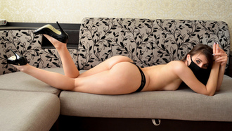 women, ass, couch, black panties, lying on front, high heels, boobs, topless, mask