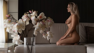 women, kneeling, ass, flowers, ribs, blonde, couch, boobs, nipples, brunette, looking away, nude, long hair