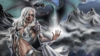 fantasy art, daenerys targaryen, dragon, game of