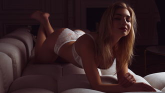 women, blonde, closed eyes, white panties, brunette, ass, red lipstick, couch, feet in the air, white lingerie, white bra