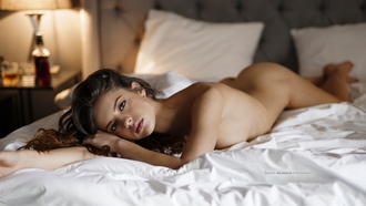 women, nude, brunette, ass, boobs, lamp, in bed, pillow, lying on front