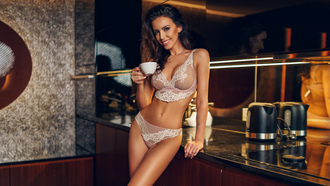 women, brunette, smiling, belly, kitchen, cup, coffee, mirror, reflection, lingerie, necklace, tattoo