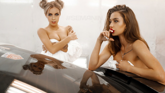 women, blonde, ass, women with cars, strategic covering, two women, tattoo, necklace, looking away, boobs, arms crossed, finger on lips, white nails, reflection, red lipstick, hairbun