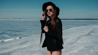 women, brunette, portrait, hat, sunglasses, coats, long hair, black panties, ice, looking away, white nails