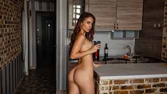 women, nude, ass, boobs, cup, kitchen, looking at viewer, brunette, bricks