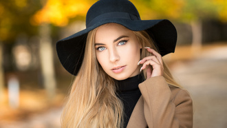 women, hat, blonde, portrait, coats, depth of field