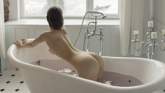 women, bathtub, nude, tattoo, window, ass, kneeling, candles, boobs, nipples, wet body, water, petals
