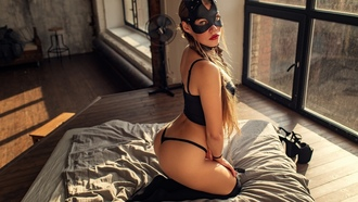 women, ass, blonde, black stockings, brunette, black lingerie, mask, window, pigtails, in bed, kneeling, long hair, red lipstick, kneehighs, chains