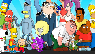 uturama cartoon, crossover amily uy he impsons, tv series he leveland how, merican ad obs urgers, by sauron88