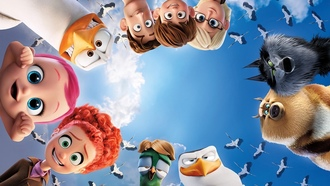 red sky red hair bird cloud, wolf redhead baby human, animated film wing, animated movie stork, kumo torks