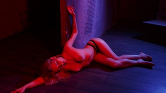 women, neon, closed eyes, topless, choker, belly, boobs, nipples, panties, tattoo, on the floor