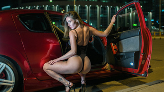 women, blonde, squatting, ass, tattoo, brunette, women with cars, high heels, women outdoors, onepiece swimsuit