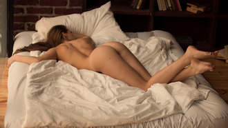 women, nude, ass, in bed, tan lines, pillow, bricks, books, lying on front, blankets