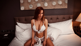 women, redhead, kneeling, belly, white lingerie, in bed, lamp, pillow