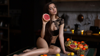 girl, fruits
