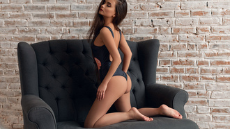 women, kneeling, ass, wall, brunette, red lipstick, onepiece swimsuit, eyeliner, bricks, closed eyes, long hair