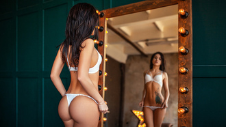 women, white lingerie, ass, brunette, mirror, reflection, light bulb, tattoo, belly