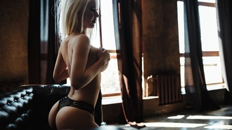 women, ass, blonde, brunette, window, covering boobs, couch, black panties, hands on boobs, boobs, topless, looking away