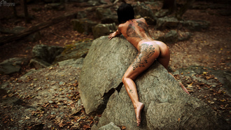women, nude, rocks, ass, brunette, short hair, back, tattoo, women outdoors