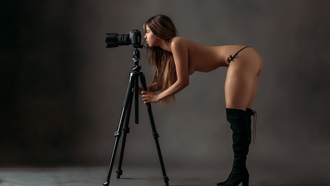 women, kneehigh boots, topless, boobs, camera, panties, ass, brunette