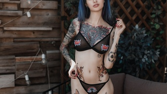 women, dyed hair, black lingerie, tattoo, the gap, red nails, seethrough bra, seethrough panties, belly, pierced nipples