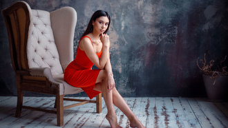 women, red dress, wall, portrait, necklace, wooden floor