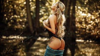 women, blonde, onepiecelingerie, jeans, hands on boobs, long hair, bokeh, tattoo, ass, trees, closed eyes, black lingerie, boobs, women outdoors