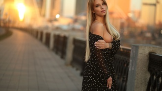 women, blonde, dress, boobs, building, sunset, nipples, long hair, fence, nose ring, seethrough dress, tattoo, pink nails, polka dots, brunette, pink lipstick, juicy lips