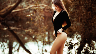 women, river, cleavage, ass, trees, brunette, women outdoors, long hair, bodysuit