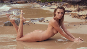 women, nude, blonde, ass, sea, brunette, boobs, nipples, sand, rocks, looking at viewer, women outdoors, feet in the air, wet body, wet hair, pink lipstick