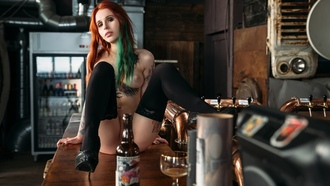 women, dyed hair, sitting, nude, high heels, bar, black stockings, boobs, nipples, pierced navel, belly, bottles, strategic covering, painted nails, ass, drinking glass