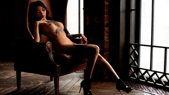 women, nude, high heels, boobs, nipples, sitting, window, brunette, finger on lips, belly