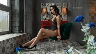 women, vetlana ikonova, black lingerie, brunette, sitting, window, chair, high heels, lamp, onepiecelingerie, flowers