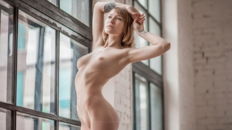 women, nude, boobs, nipples, blonde, window, ass, ribs, bricks, armpits, shaved pubic hair, tattoo, belly