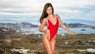 little caprice, red one piece